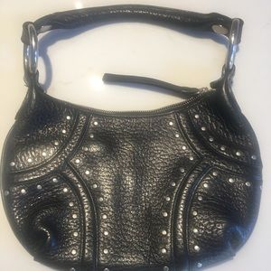 Kenneth Cole New York black leather studded purse